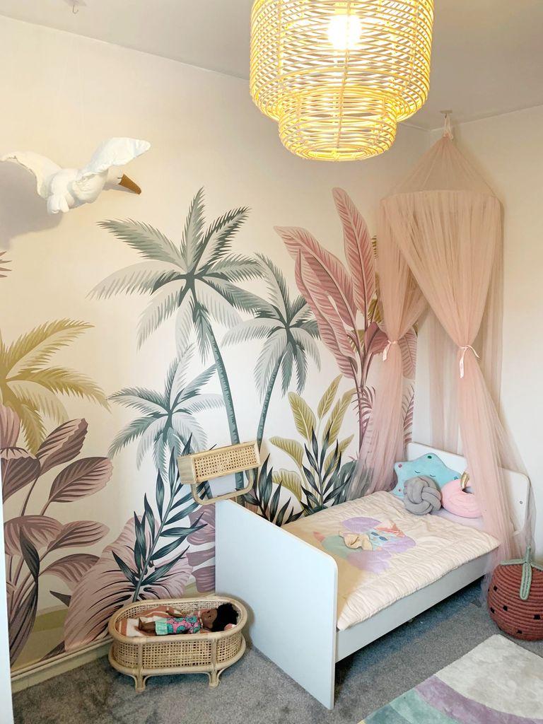 boho tropical themed kids room