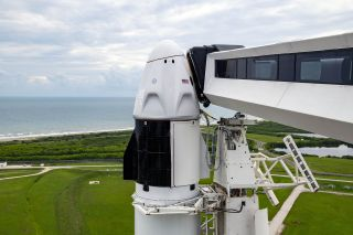The SpaceX Falcon 9 rocket and Crew Dragon that will launch the private orbital spaceflight dubbed Inspiration4, as seen during launch preparations.