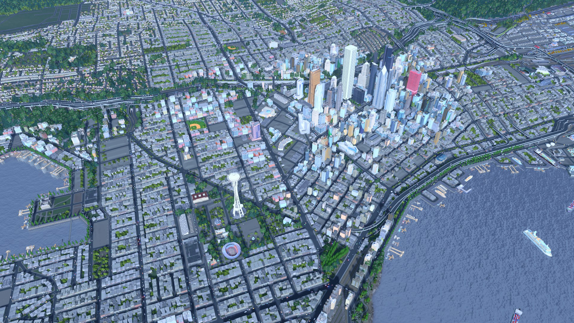 Cities: Skylines player constructs central Seattle using