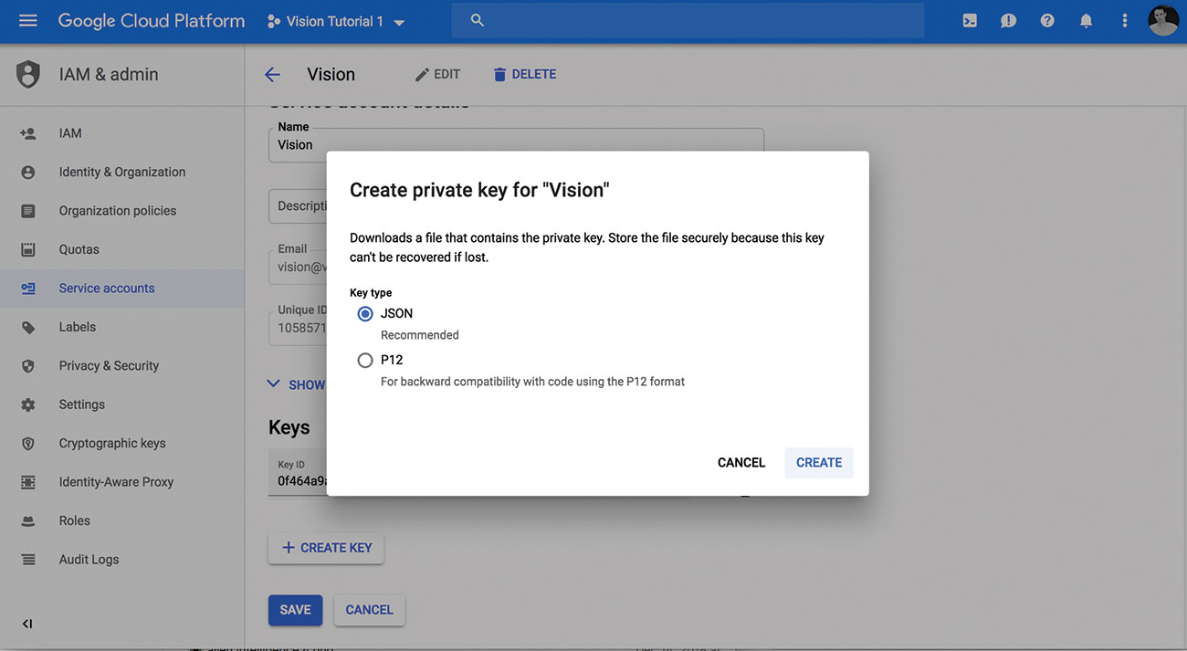 A guide to Google's Cloud Vision: Create a service account