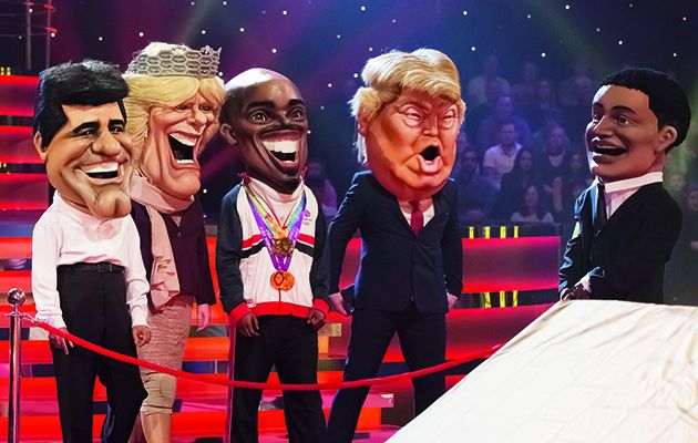 Ever dreamed of watching people running around like headless chickens while wearing huge rubber masks of famous people?!