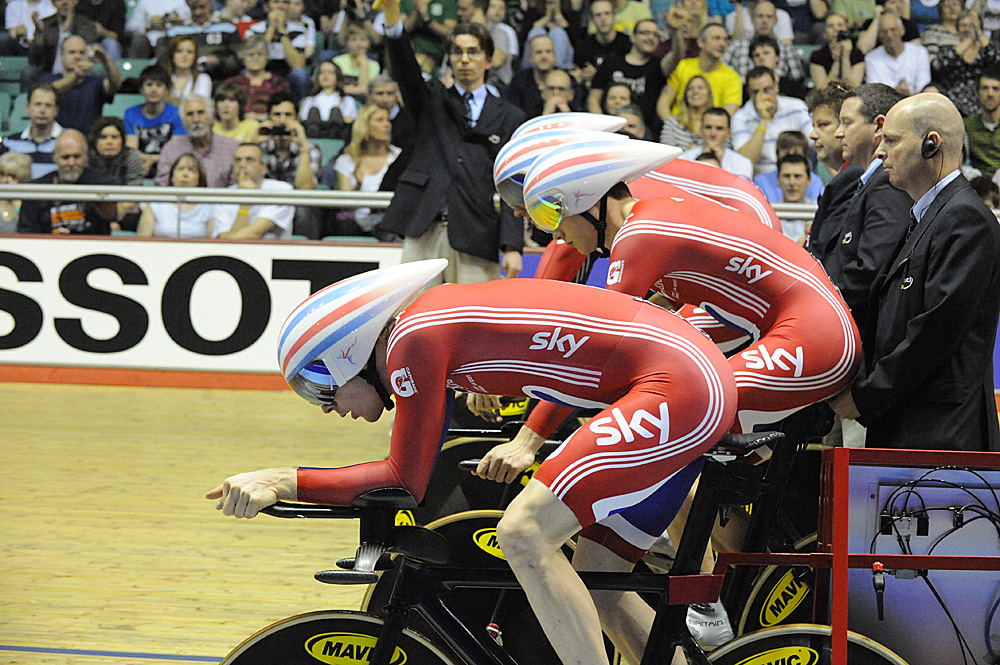 Start, Britain wins team pursuit, Manchester Track World Cup 2011