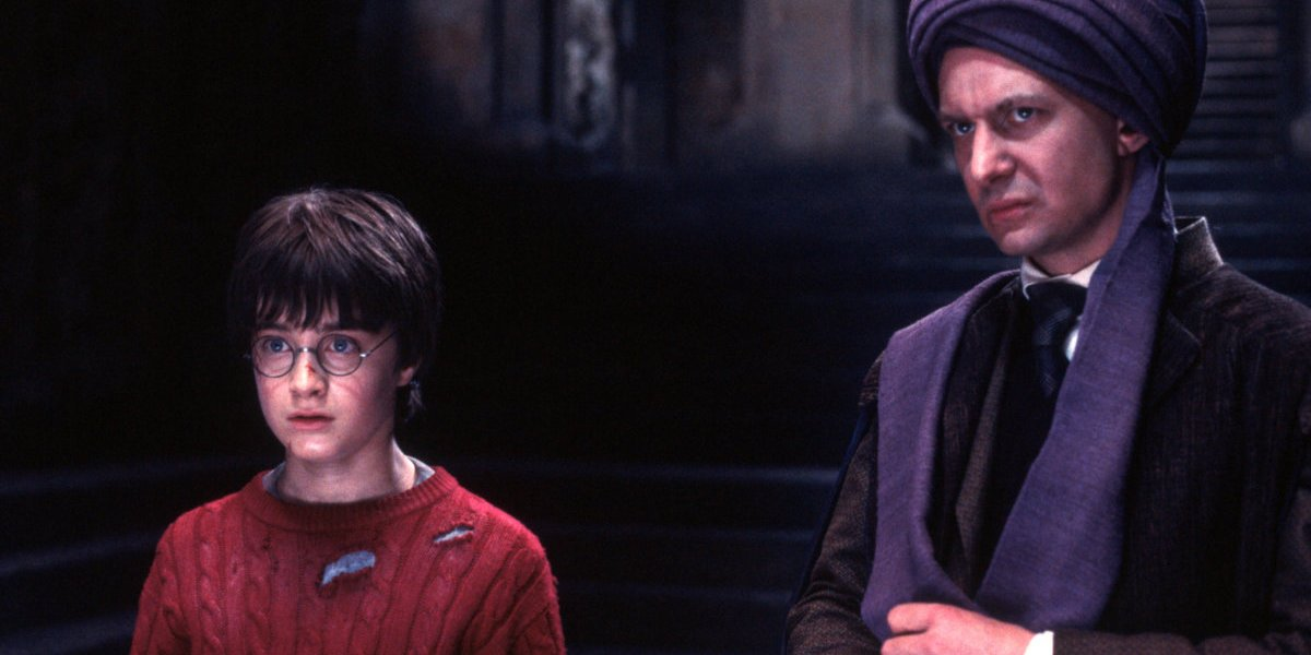 Daniel Radcliffe and Ian Hart in Harry Potter and the Sorcerer's Stone