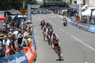 The women's race was strung out early on during day 3 of the 2019 Bay Crits in Williamstown