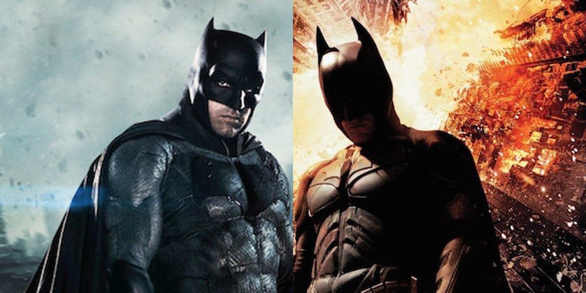 Actors Ben Affleck and Christian Bale as Batman
