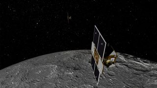 Artist's concept of the two Gravity Recovery and Interior Laboratory (GRAIL) spacecraft orbiting the moon. NASA will launch the twin probes on Sept. 8, 2011, to study the moon's gravitational field in unprecedented detail.