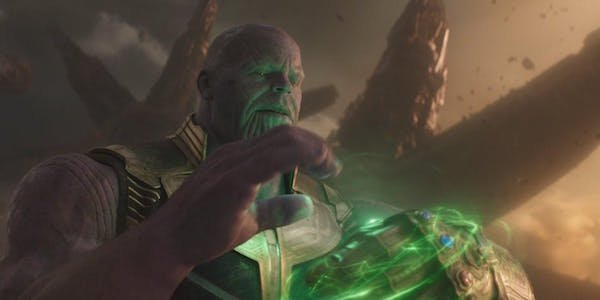 Thanos with Time Stone in Infinity Gauntlet
