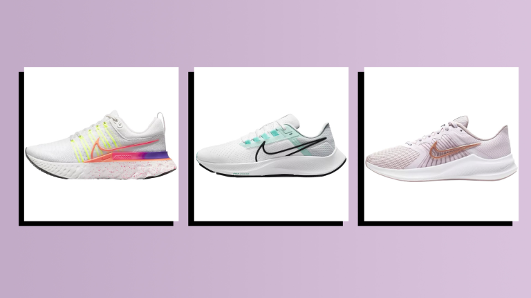 three of the best Nike running shoes on purple background