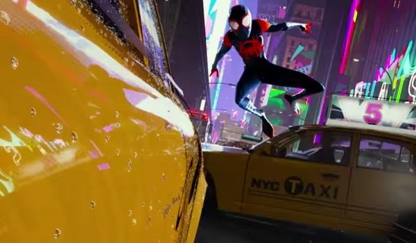 Spider-Man: Into The Spider-verse Miles Morales making a taxi jump