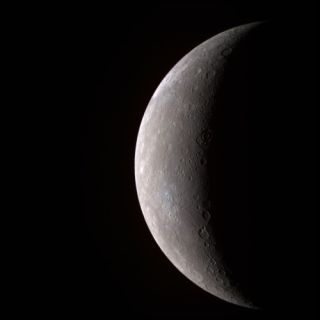 First high-resolution image of Mercury transmitted by the MESSENGER spacecraft (in false color, 11 narrow-band color filters).