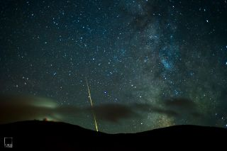 Milky Way and Meteor Over Cannon Mountain Observatory