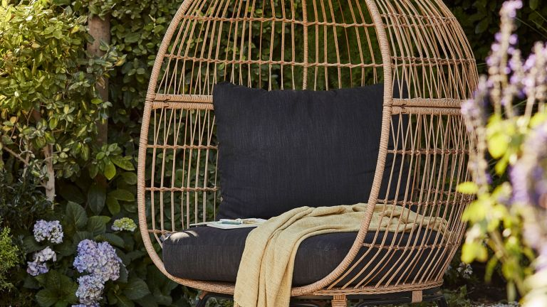 B&Q egg chair in garden