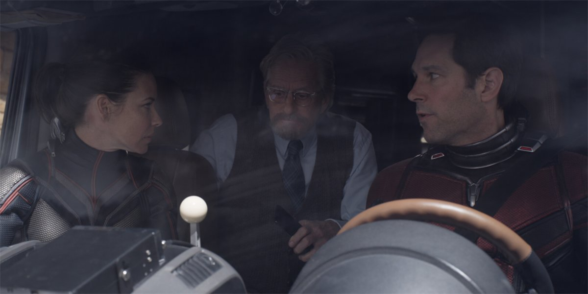 Scott, Hope and Hank sit in a van in Ant-Man and hte Wasp