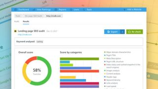 SEO audit analytics page with donut chart and bar graph