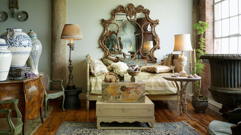 regency era style decor with gold mirror and lampshades