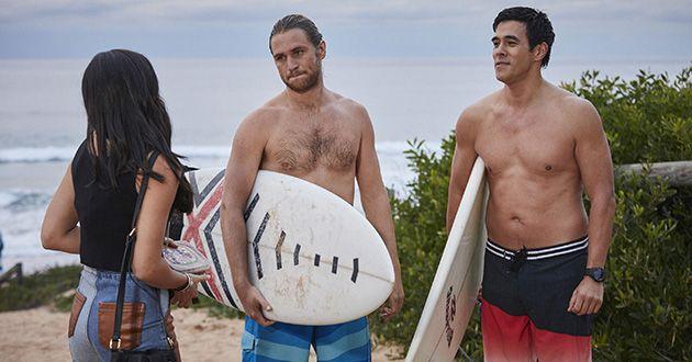 Ash Ashford Justin Morgan, Ash Ashford, Willow Justin Morgan run into Willow Harris at the surf club in Home and Away.