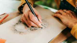 How to draw - A woman drawing a picture of a monkey.