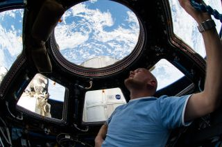European Space Agency astronaut Alexander Gerst, Expedition 40 flight engineer, enjoys the view of Earth from the windows in the Cupola of the International Space Station.