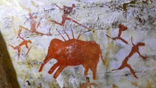 A replica painting from the Cave of Altamira (Cueva de Altamir) in Santillana del Mar in Cantabria, Spain, which has cave paintings created between 18,500 and 14,000 years ago during the Upper Palaeolithic by paleo human settlers. The earliest paintings in the cave were drawn around 35,600 years ago.
