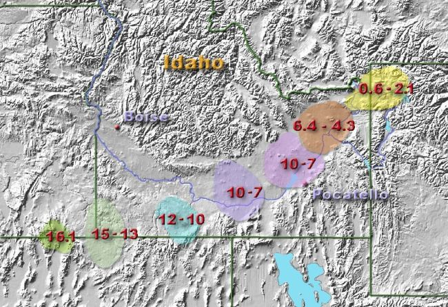 A map of the 7 Yellowstone supereruptions known before this study.