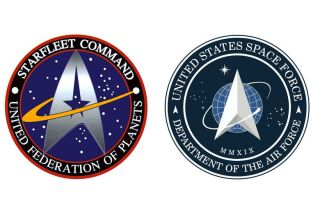 The Star Trek Starfleet logo (left) next to the new Space Force logo