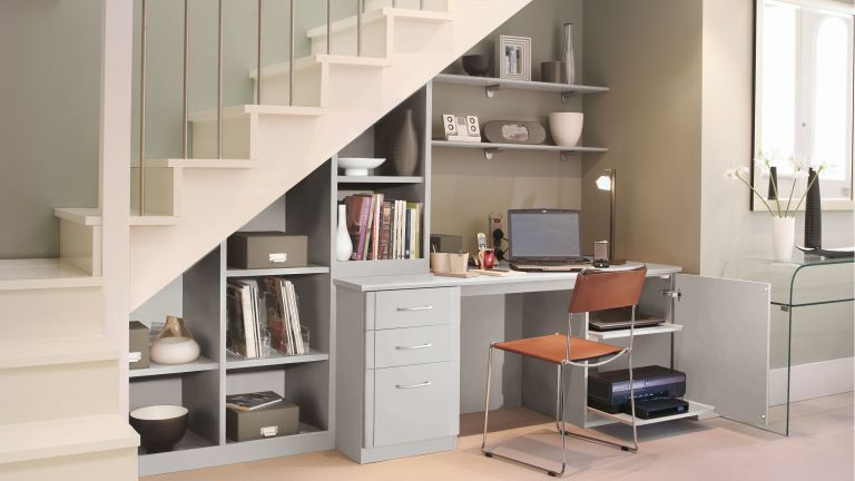 Under the stairs home office idea by Sharps