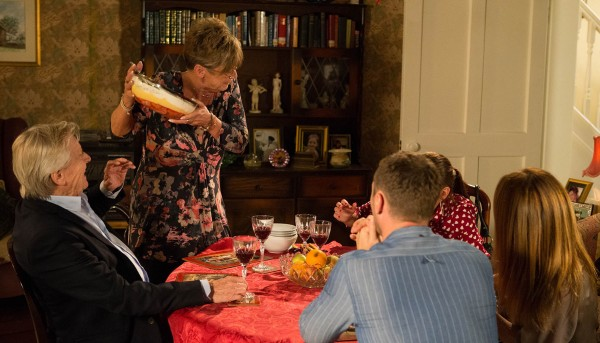 Deirdre's final scene in Coronation Street with the trifle