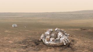 An artist's illustration of the Schiaparelli lander on Mars.
