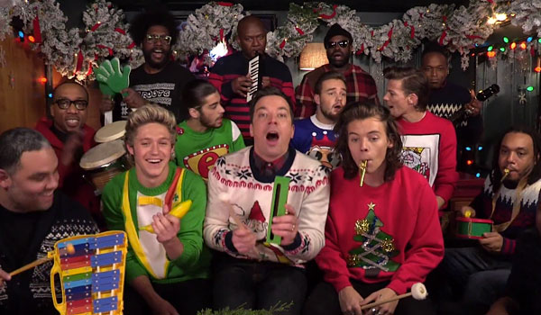 Jimmy Fallon Christmas.Watch Jimmy Fallon And One Direction Belt Out This Christmas