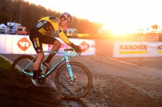 Wout van Aert (Jumbo-Visma) races to fourth place at the fifth round of the 2020 Superprestige cyclo-cross series in Boom, Belgium