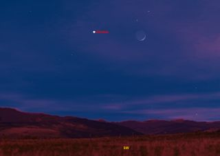 This sky map shows how the planet Venus and the moon will appear in the southwestern sky at 5 p.m. local time on Dec. 26, 2011.