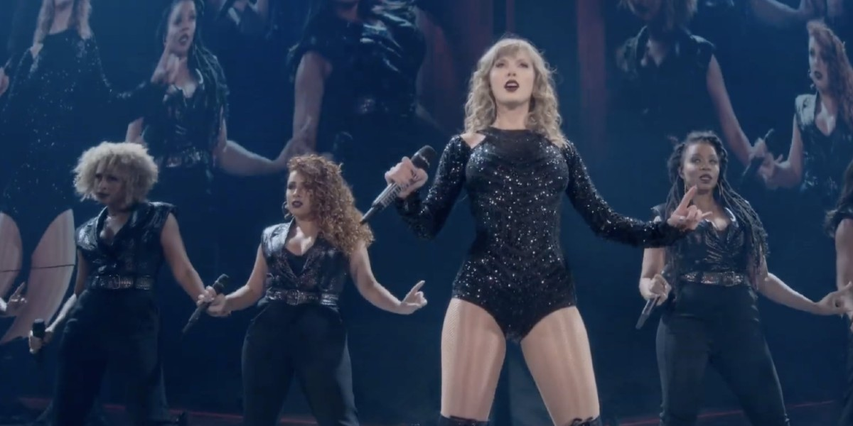 Taylor Swift performing for Reputation Stadium tour