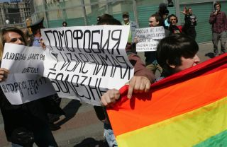 gay rights protest in Moscow