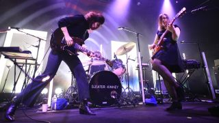 Carrie Brownstein and Corin Tucker of Sleater-Kinney perform at Vicar Street on March 01, 2020 in Dublin, Ireland.