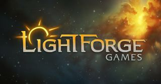 """The word """"LightForge Games"""" overtop an outer space background."""