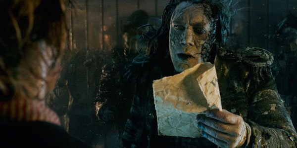 Pirates of the Caribbean captain salazar looks at paper