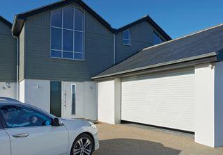 Garador roller garage door in a contemporary home