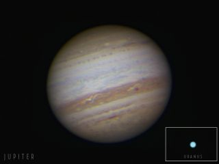 This photo of Jupiter was taken on Sept. 20, 2010 when Jupiter made its closest approach to Earth since 1963. (Uranus [insert] was visible through telescopes near Jupiter.)