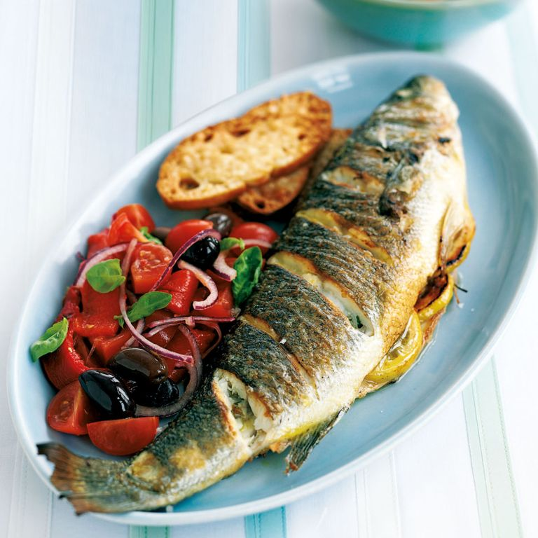 Roasted Sea Bass with Tomato Salad and Crispy Parmesan Croutons Recipe-recipe ideas-woman and home