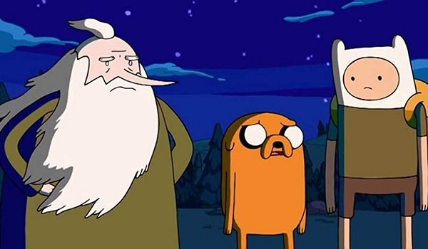 Adventure Time Jake and Finn looking pretty down at night