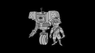 A security robot and military police officer, drawn in the Vault Boy-style