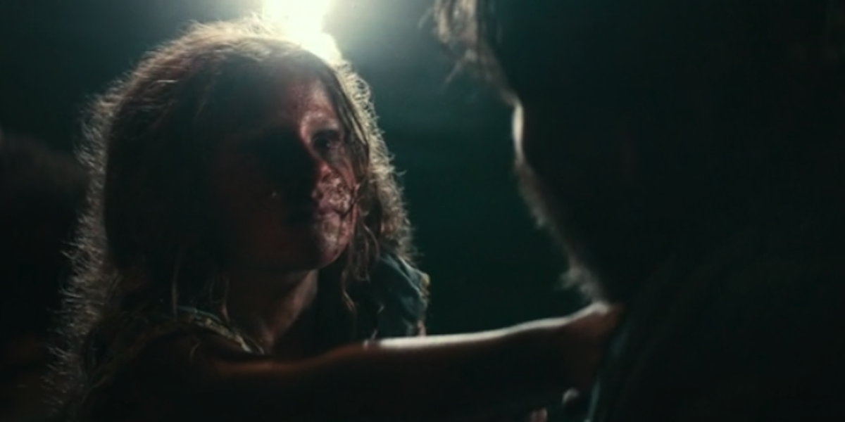 Creepy girl on the docks in A Quiet Place Part II with Cillian Murphy