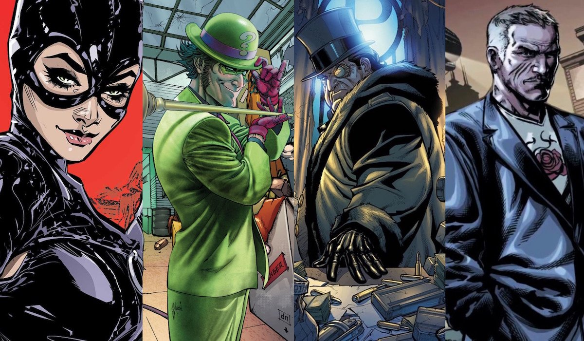 Catwoman, Riddler, Penguin and Carmine Falcone