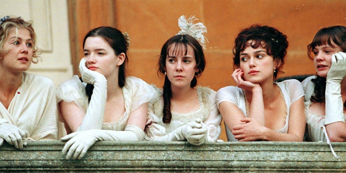 Rosamund Pike, Talulah Riley, Jena Malone, Keira Knightley and Carey Mulligan in Pride & Prejudice
