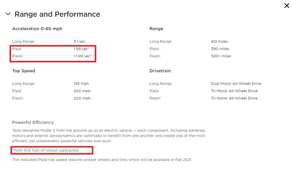 Screengrab from Tesla website about Model S Plaid and Plaid+ acceleration