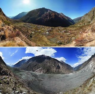 photos showing destruction of Langtang Valley in Nepal due to a huge earthquake in 2015.