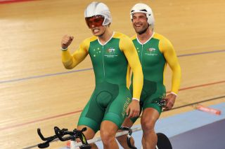 Australia's Scott McPhee (left) and Kieran Modra celebrate taking the gold medal in the men's Individual B Pursuit at the 2012 Paralympic Games in London