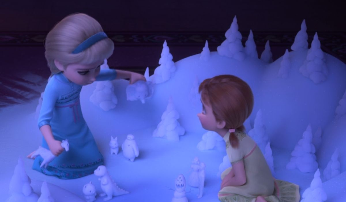 Anna and Elsa playing in the snow
