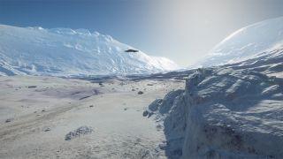 A Ship In Elite Dangerous Odyssey Flies Over A Frozen Landscape