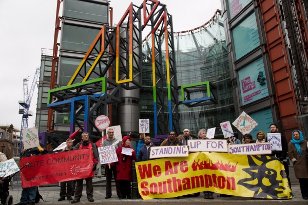 Representatives of Southampton Communities Alliance protest outside Channel 4 call for the cancellation of Immigration Street (Mark Kerrison / Demotix)